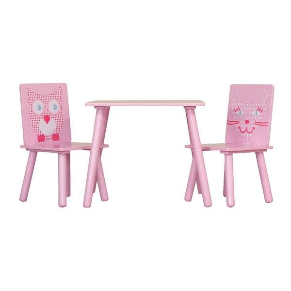 Dziecięcy stół i 2 krzesła Owl & Pussycat