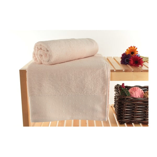 Zestaw 2 pudrowych ręczników Patricik Powder, 90x150 cm