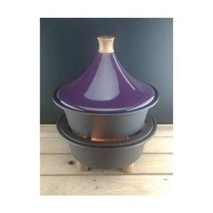 Ogrodowa kuchenka żeliwna z garnkiem tajine, fioletowa