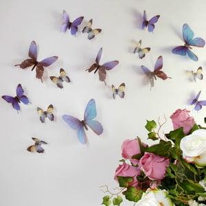 Zestaw 18 niebieskich adhezyjnych naklejek 3D Ambiance Butterflies