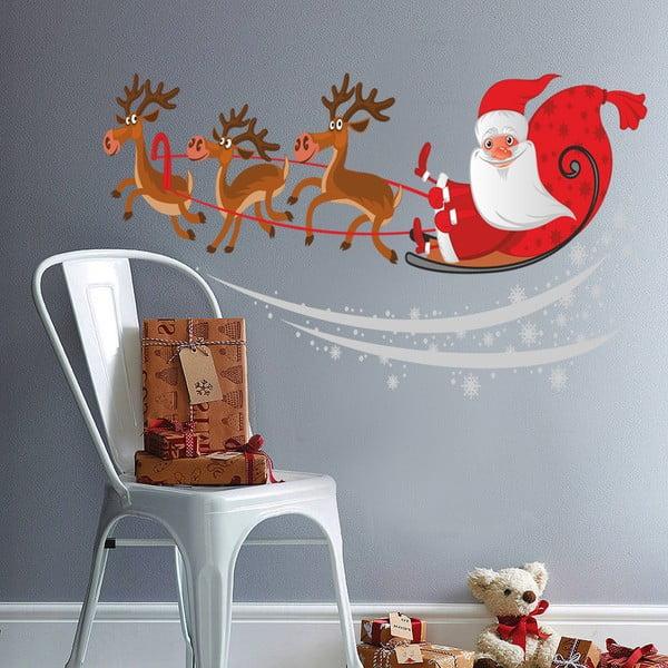 Naklejka ścienna Mikołaj na saniach, 90x60 cm