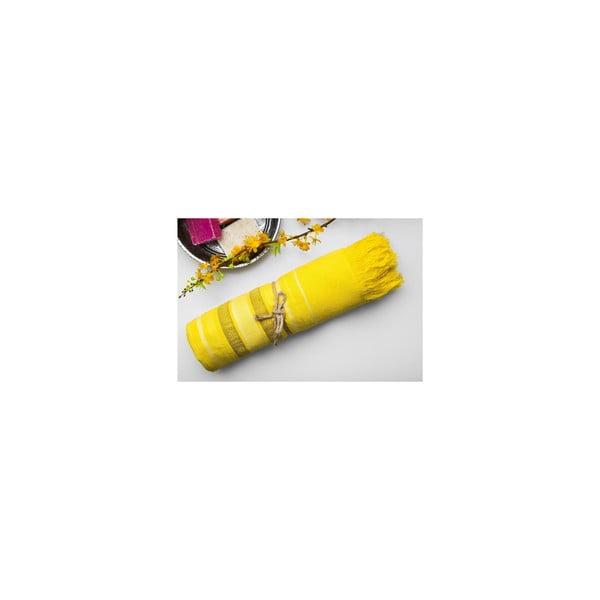 Ręcznik Hamam Cotton Loincloth Yellow Three, 75x170 cm