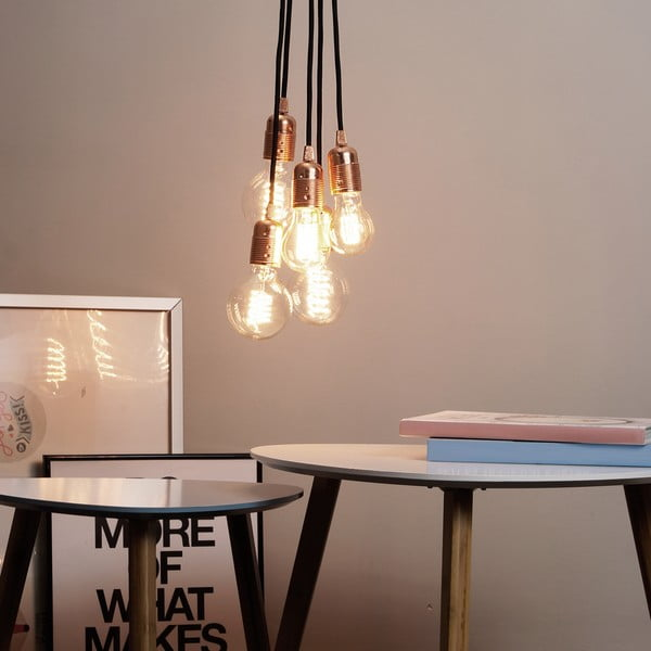 Lampa   wisząca z 5 czarnymi kablami i z oprawką w miedzianej barwie Bulb Attack Uno   Group