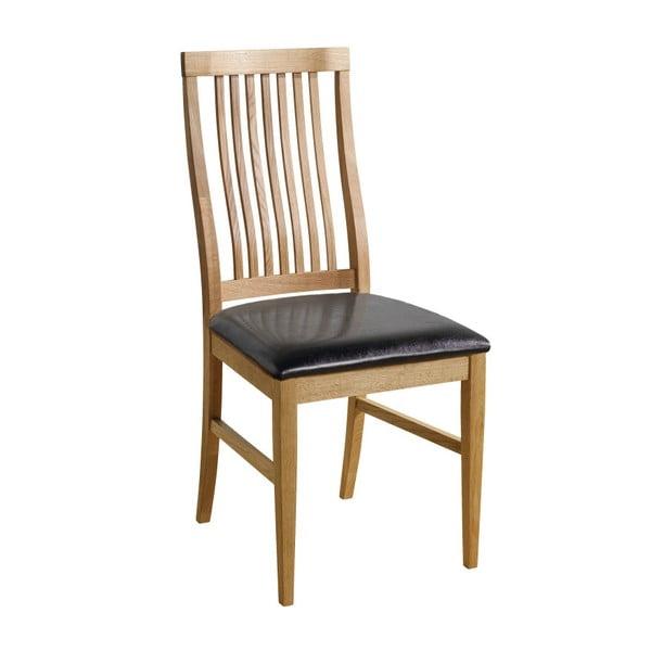 Zestaw 2 naturalnych krzeseł z czarnym obiciem Folke Kansas