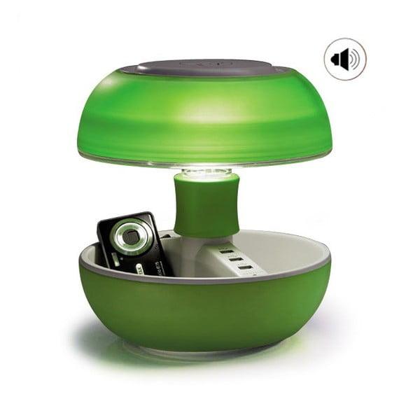 Lampa stołowa, ładowarka i głośnik w jednym Joyo Light, zielona