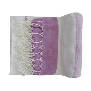 Fioletowy ręcznie tkany ręcznik z bawełny premium Gokku,100x180 cm