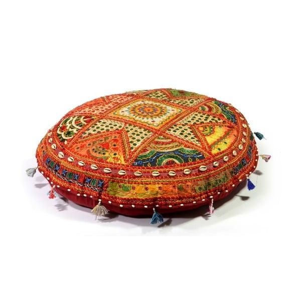 Poduszka do siedzenia wyszywana ręcznie Radżastan, pomarańczowa