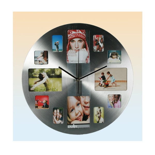 Zegar ścienny Family, srebrny