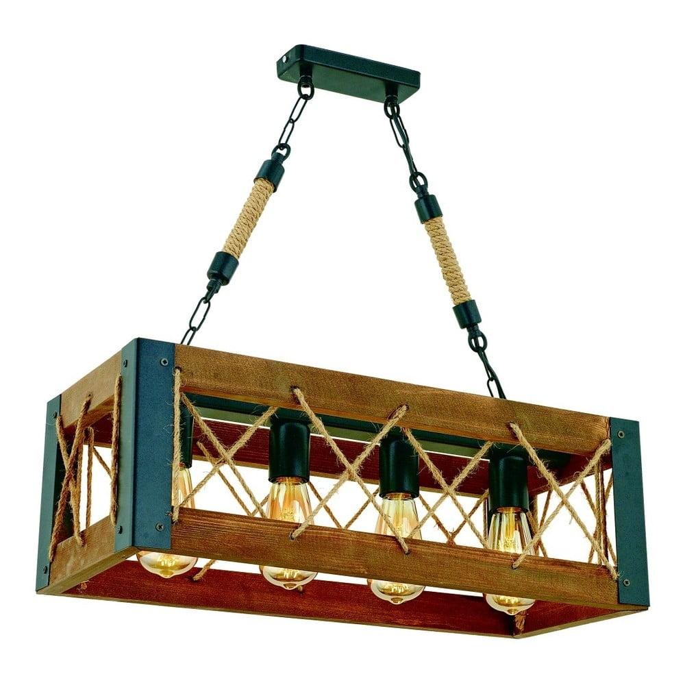 Lampa wisząca z drewna grabu Çapraz Halatlı