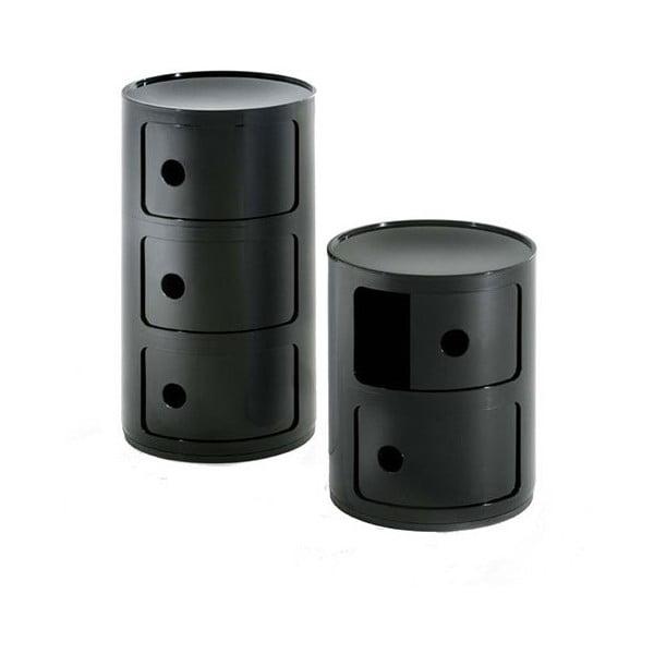 Czarna szafka z 3 szufladami Kartell Componibili