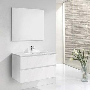 Szafka do łazienki z umywalką i lustrem Monza, odcień bieli, 120 cm