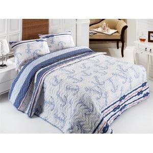Pikowana narzuta i 2 poszewki na poduszki Sailor, 200x220 cm
