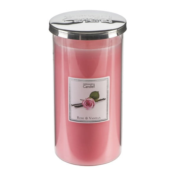 Świeczka zapachowa o zapachu róży i wanilii Copenhagen Candles Talll, czas palenia 70 godz.