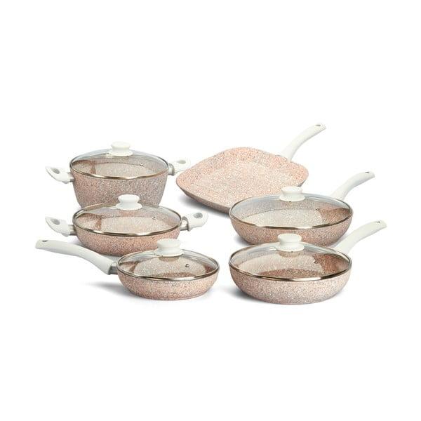 6-częściowy zestaw garnków i patelni Stonerose z białą rączką