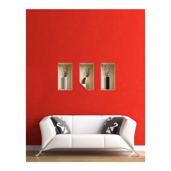 Naklejki na ścianę 3D Vases Lugano, 3 szt