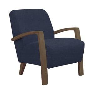 Niebieski fotel z ciemnymi podłokietnikami Helga Interiors Emilia