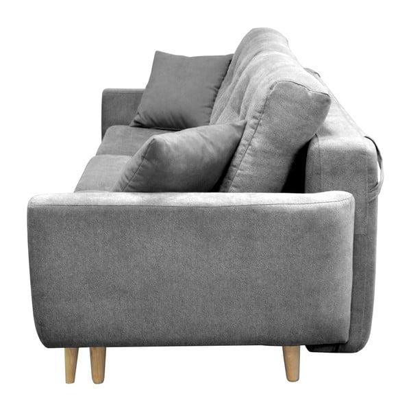 Szara sofa rozkładana z jasnymi nogami Mazzini Sofas Rose