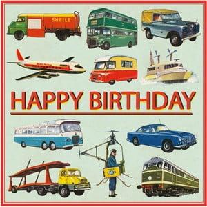 Kartka urodzinowa z kopertką Rex London Vintage Transport