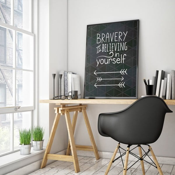 Plakat w drewnianej ramie Bravery, 38x28 cm