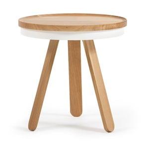 Drewniany stolik z białym blatem i tacą Woodendot Batea S