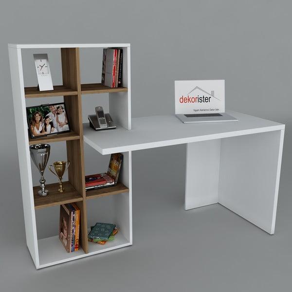 Biurko z biblioteczką Win White/Walnut, 60x151x123,6 cm