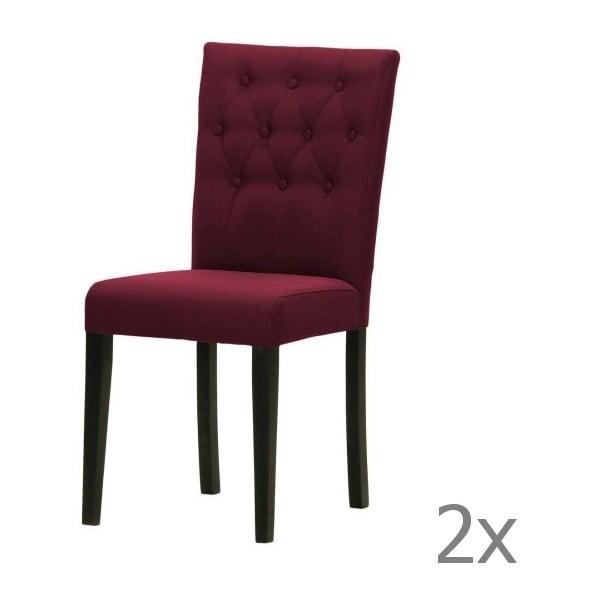 Komplet 2 krzeseł Monako Etna Dark Violet, czarne nóżki