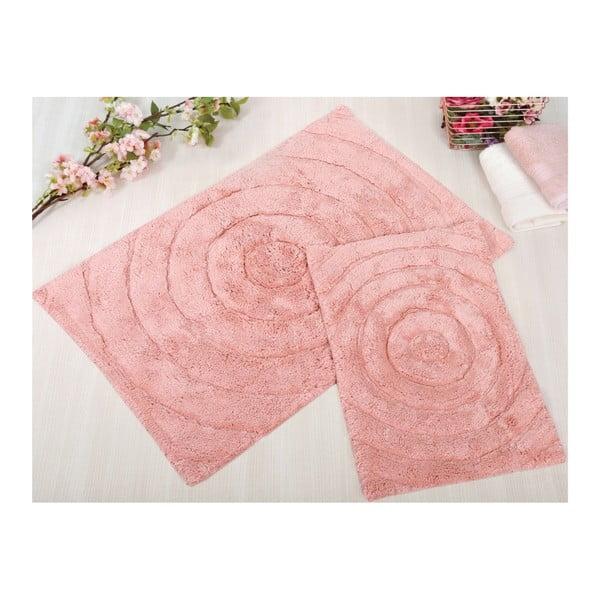Zestaw 2 różowych dywaników łazienkowych Irya Home Waves, 60x100 cm i 40x60 cm