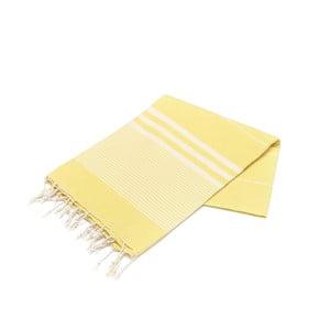 Żółty ręcznik Hammam Hereke, 100x180cm