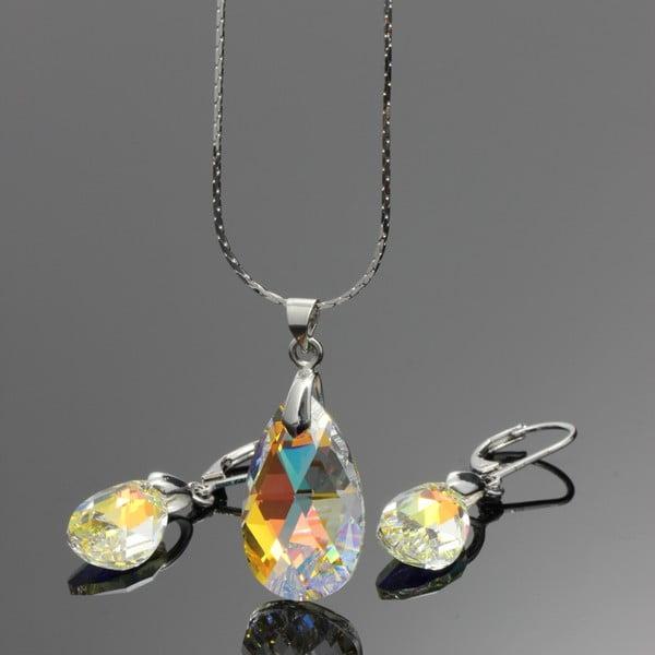 Komplet naszyjnika i kolczyków Yasmine Clear Crystal