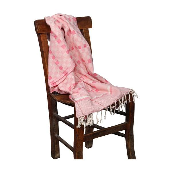 Koralowoczerwony ręcznik hammam Hera Coral, 90x190cm