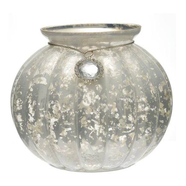 Szklany świecznik w kształcie dyni J-Line, 21x17 cm