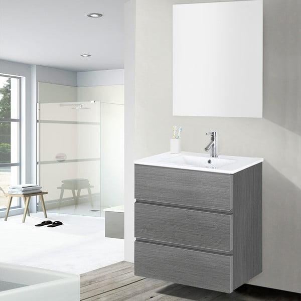 Szafka do łazienki z umywalką i lustrem Nayade, odcień szarości, 60 cm
