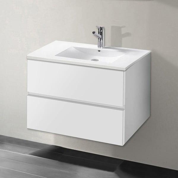 Szafka do łazienki z umywalką i lustrem Flopy, odcień bieli, 60 cm