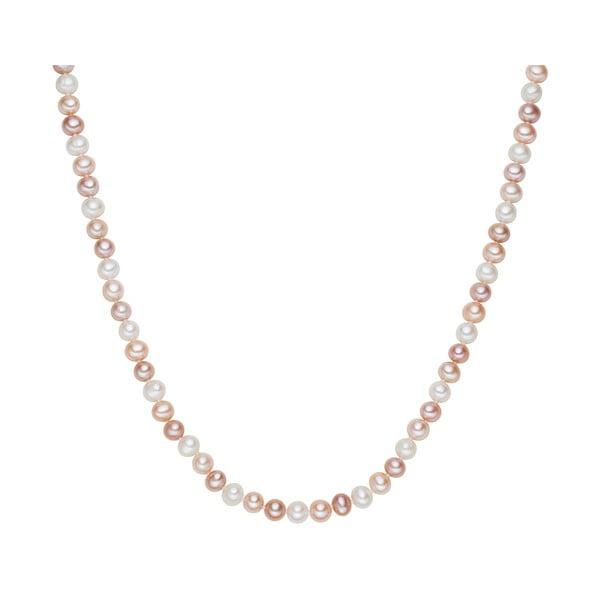 Biało-różowy   perłowy naszyjnik Chakra Pearls, 90 cm