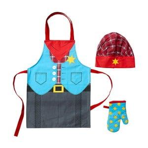 Dziecięcy zestaw fartucha, czapki i rękawicy kuchennej Cowboy