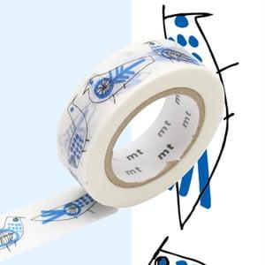 Biało-niebieska taśma dekoracyjna washi MT Masking Tape Retro-birds
