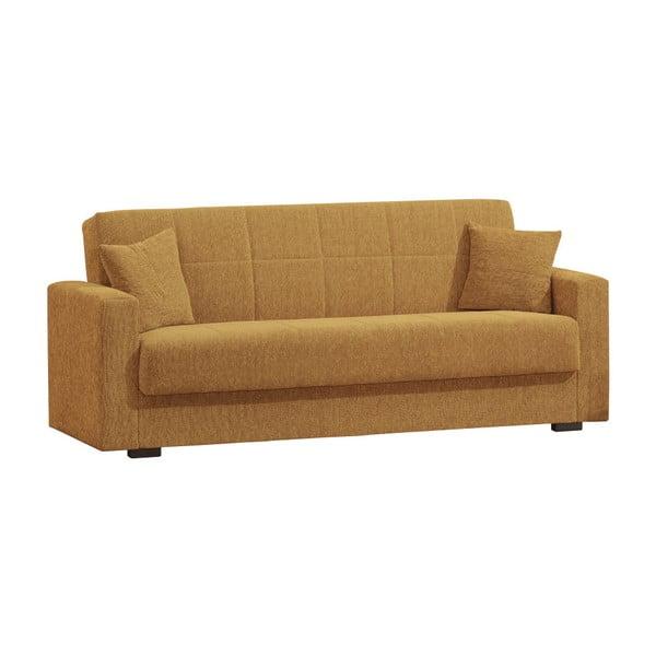 Żółtobrunatna trzyosobowa sofa rozkładana ze schowkiem Esidra Relax