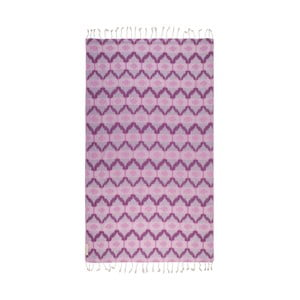 Różowy ręcznik hammam Begonville Ripple, 180x95cm
