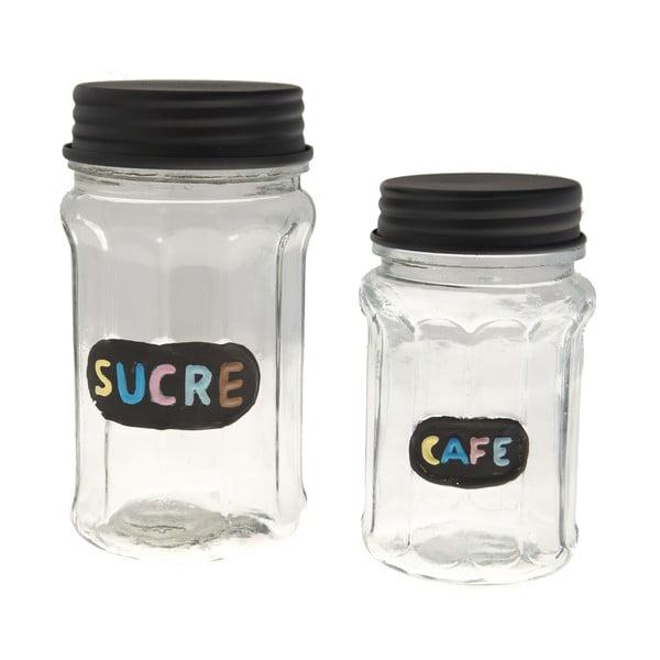 Zestaw 2 szklanych pojemników Sucre & Cafe