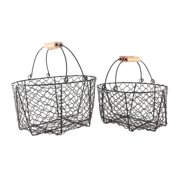 Zestaw 2 drucianych koszyków z rączką