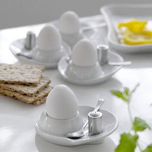 Zestaw czterech kieliszków do jajek z łyżeczką i solniczką Steel Function