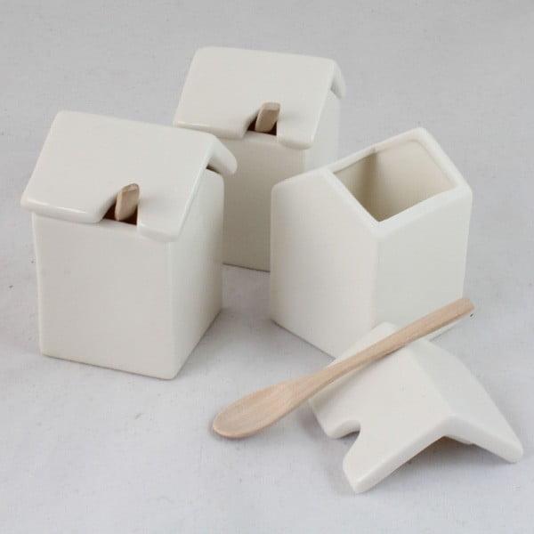 Zestaw 3 ceramicznych pojemników z łyżeczką Dakls White Home