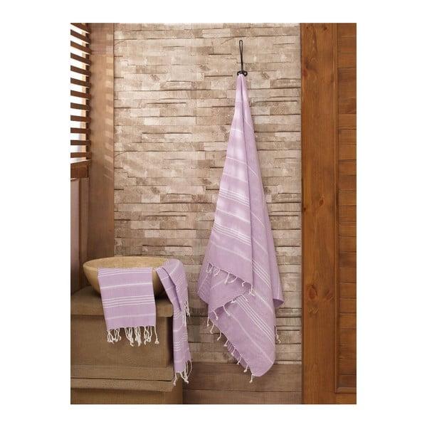 Zestaw 2 fioletowych ręczników Hammam Sultan