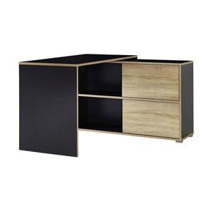 Czarne biurko narożne z szafką z przesuwnymi drzwiczkami Germania Slide