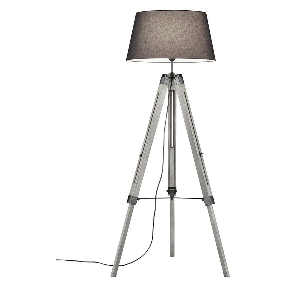 Szara lampa stojąca z naturalnego drewna i tkaniny Trio Tripod, wys. 143 cm