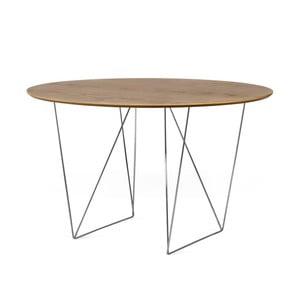 Stół w kolorze orzecha z chromowanymi nogami TemaHome Row, Ø120cm