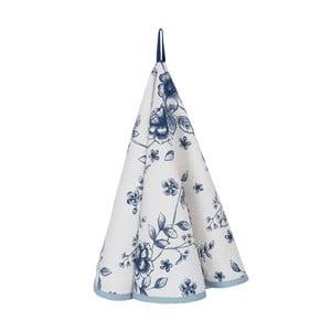 Niebiesko-biała ścierka kuchenna z bawełny Clayre & Eef Lilies, Ø 80 cm