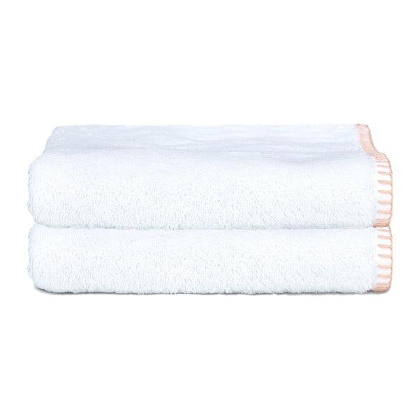 Zestaw 2 ręczników Whyte 50x90 cm, biało-łososiowy