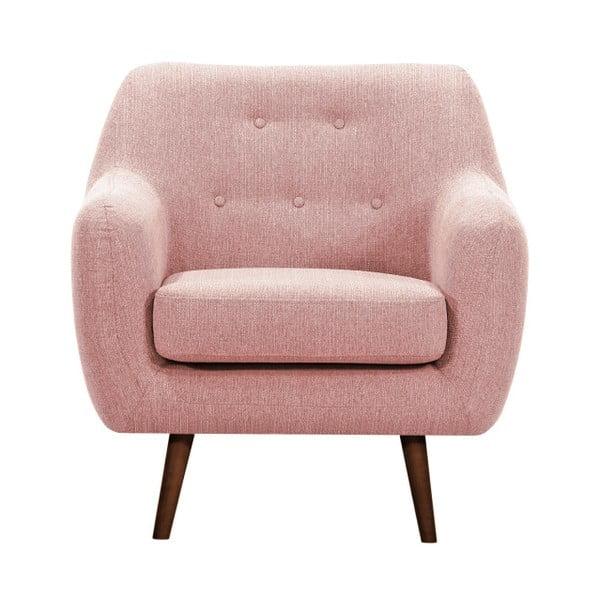 Jasnoróżowy fotel z ciemnymi nogami Vivonita Lila