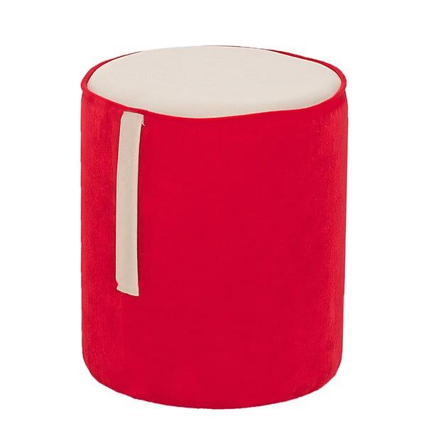 Okrągły puf Ghia, czerwony z kremowymi detalami
